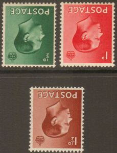1936 Edward VIII Inverted Watermark Stamp Set MOUNTED MINT SG457wi-459wi